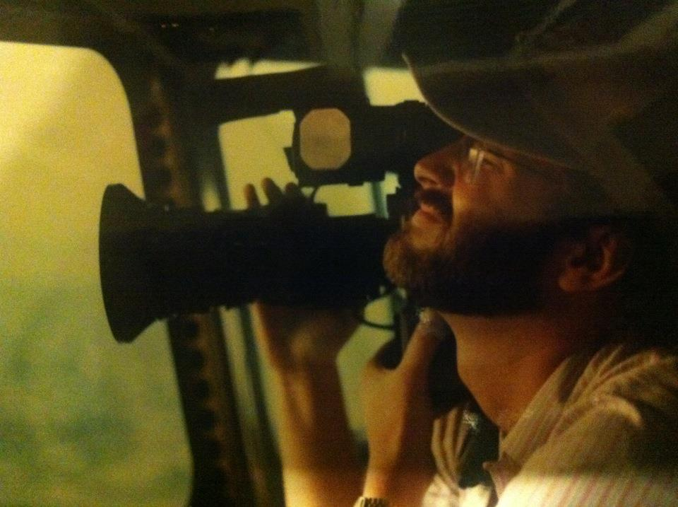 Your humble narrator, shooting from the Goodyear blimp in 1985